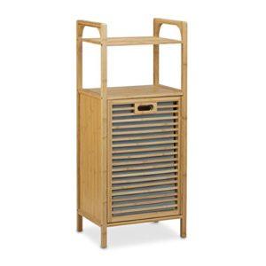 Relaxdays Badregal mit Wäschekorb aus Bambus