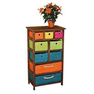 Regal mit Körben - Farbenfrohes Regal mit 9 farbigen Körben