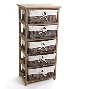 Regal mit Körben ♥ Holzregal mit 5 Fächern für Weidenkörbe mit herausnehmbarem Überzug