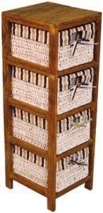 Hansen Korb 3403/4 Holz Regal mit 4 Maisstrohkörben ♥  mit braun/beige gestreiftem Stoff