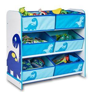Regal mit Boxen - Aufbewahrungsregal - Spielzeugkiste - Kinderregal - Regal 6 Boxen Mädchen und Jungs mit Motivwahl (Dinosaurier)