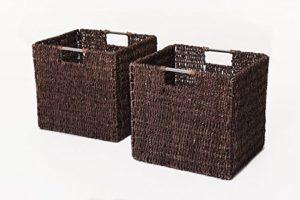 VIVANNO 2 Regalkörbe aus Seegras f. Ikea Expedit / Bonde braun
