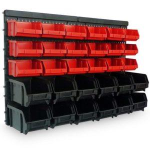 Regal mit Boxen - Wandregal + Stapelboxen 32 tlg Box Werkstattregal Lagerregal Werkstattwandregal Steckregal Starke Wandplatten